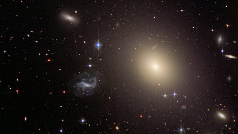 The brightest source is ESO325-G004, the galaxy doing the lensing