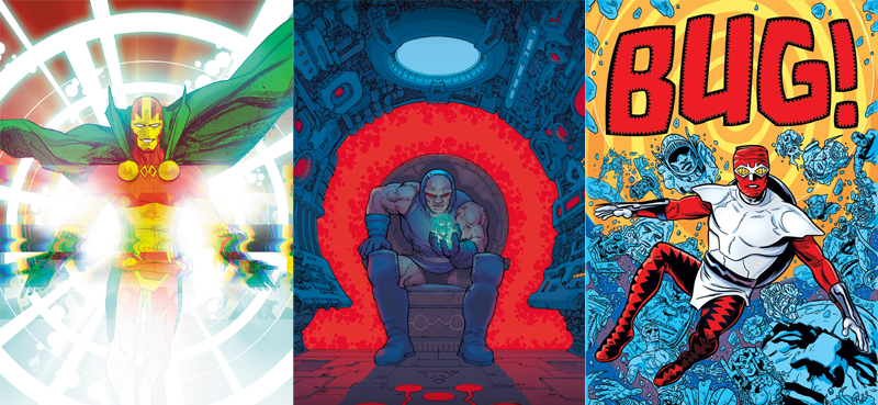 Image: DC Comics. Mister Miracle art by Nick Bradshaw, Darkseid art by Chris Burnham, and Forager art by Michael Allred