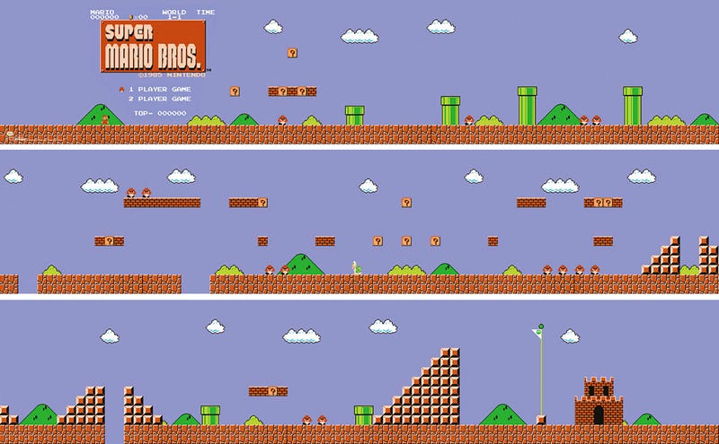 Illustration for article titled Power-up Your Walls With This Super Mario Bros. Level 1-1 Poster Set