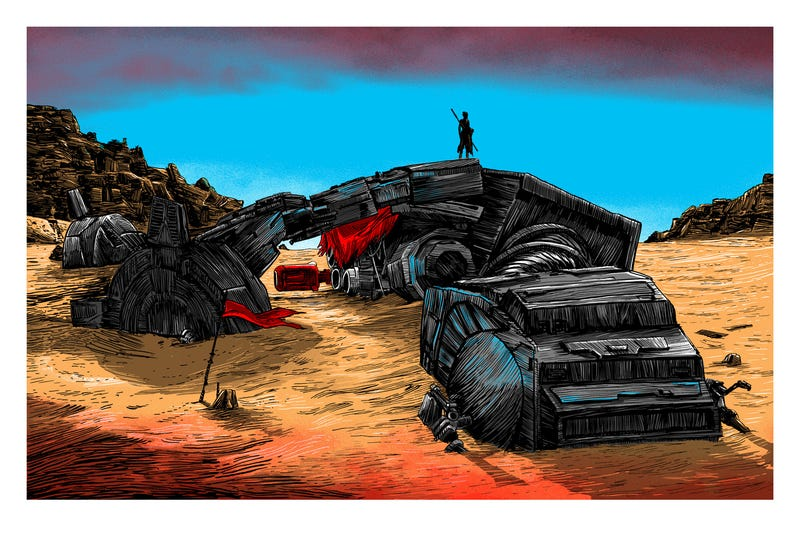 Illustration for article titled It's a Lonely Day on Jakku in This Majestic Star Wars Art