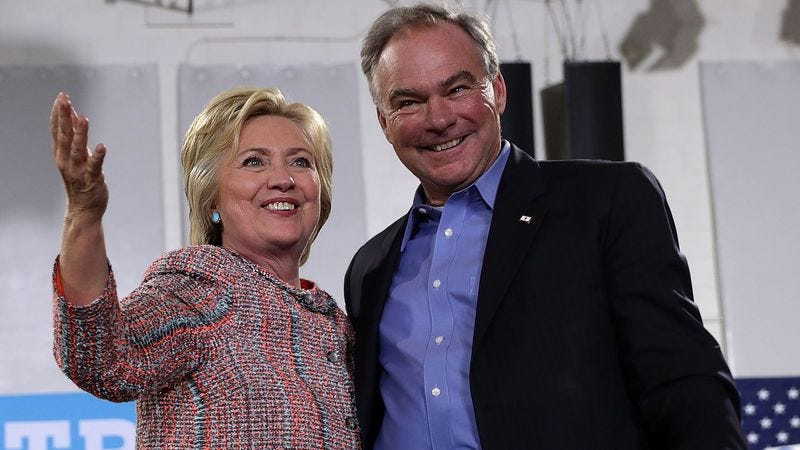 Illustration for article titled Clinton Assures Tim Kaine She'll Continue Serving As President In Event Of Her Death