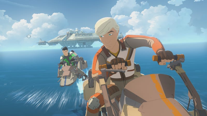 Jace Rucklin, voiced by Elijah Wood, races Kaz towards a ring on Star Wars Resistance.