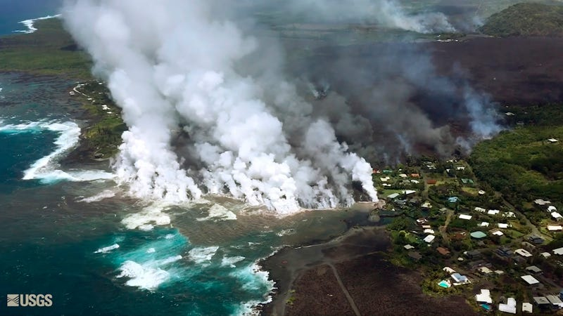 Lava flows from Kilauea fill what was formerly known as Kapoho Bay on May 5th, 2018.