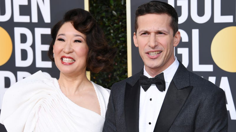 Hosts Sandra Oh and Andy Samberg, clearly thrilled to host tonight's festivities