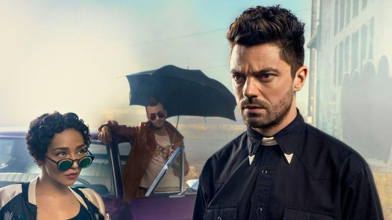 Ruth Negga (left), Joseph Gilgun, and Dominic Cooper star in Preacher (Photo: Marco Grob/AMC)