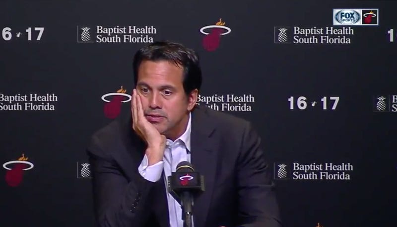 Illustration for article titled Erik Spoelstra Gave Just The Most Excruciating Press Conference After The Heat Missed The Playoffs