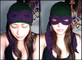 Illustration for article titled Masked Ninja Turtle beanie keeps your face warm, awesome