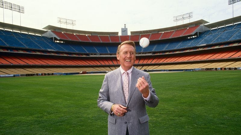 Vin Scully at Dodger Stadium, 1990 (Photo: George Rose/Getty Images)