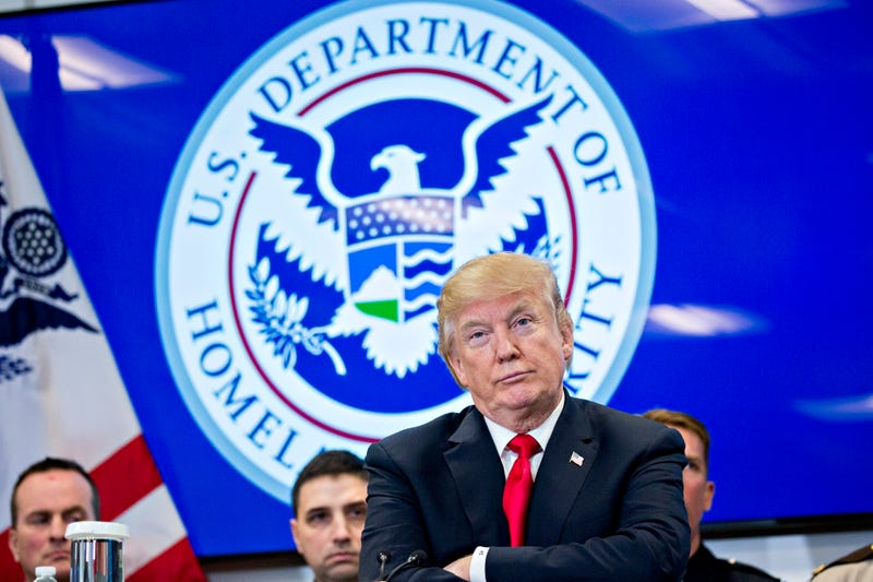 President Donald Trump participates in a Customs and Border Protection roundtable discussion after touring the CBP National Targeting Center in Sterling, Va., on Feb. 2, 2018. (Andrew Harrer-Pool/Getty Images)