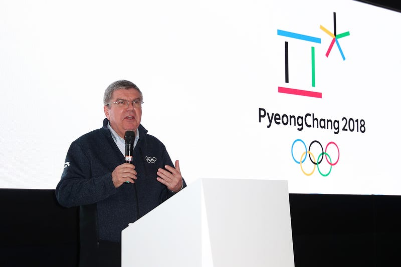 IOC President Thomas Bach addresses the media. Photo by Joe Scarnici/Getty Images.