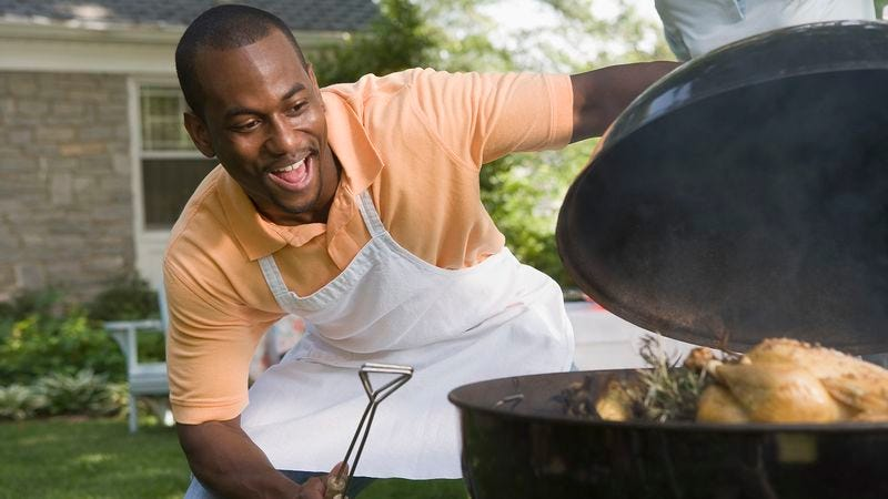 Illustration for article titled Dad Frees Up Entire Day To Spend On Quality Father-Grill Bonding Time