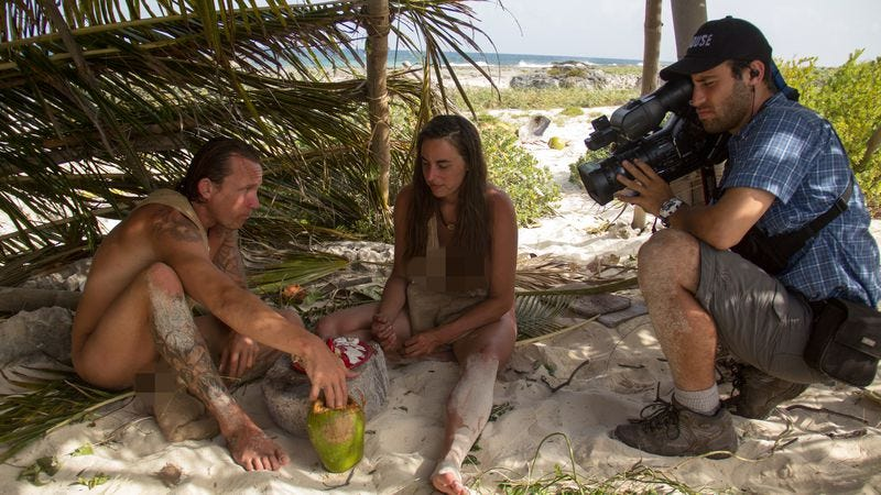 A behind-the-crevices shot of Naked And Afraid filming (Photo: Discovery Channel)