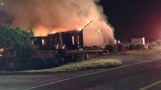 Mount Zion African Methodist Episcopal Church in Greeleyville, S.C., burned well into the evening June 30, 2015, as two fire crews from different counties battled to get the flames under control.Twitter