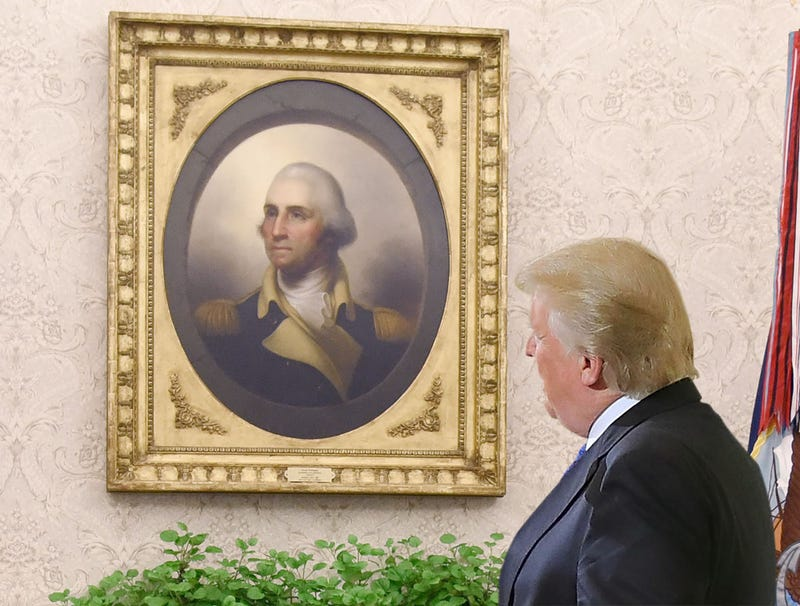 Illustration for article titled 'What About You, Are You On My Team?' Trump Asks George Washington Portrait