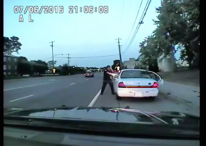 St. Anthony, Minn., Police Officer Jeronimo Yanez is seen in dashcam video pulling out his service weapon and firing into the vehicle. (YouTube screenshot)