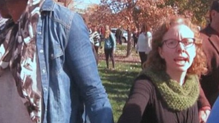 """Melissa Click moments before she called for """"muscle"""" to throw a reporter off University of Missouri property that protesters had claimed in November 2015KTVI screenshot"""