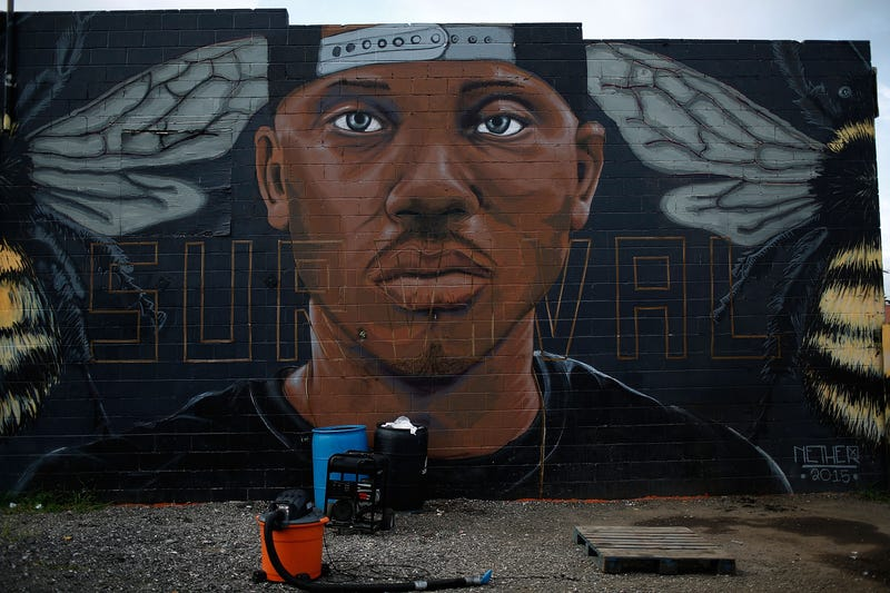 A mural of Freddie Gray near the location where he was arrested is shown Aug. 10, 2016, in Baltimore.Win McNamee/Getty Images