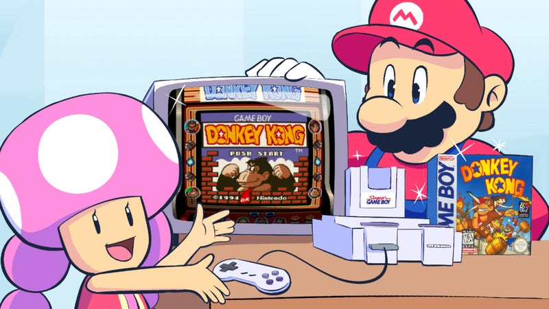 Illustration for article titled 25 Years Ago, The Super Game Boy Reinvented Donkey Kong