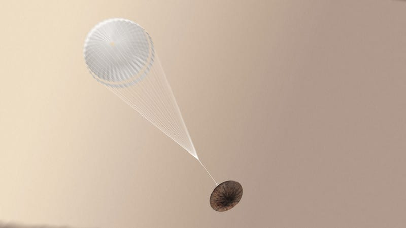 Artist's rendering of Schiaparelli with parachute deployed. Image: ESA/ATG medialab