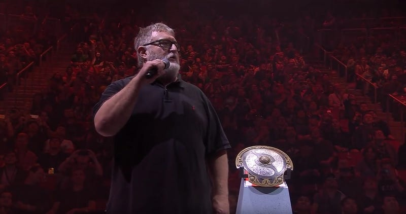 Valve head Gabe Newell on stage during DOTA 2's International event.