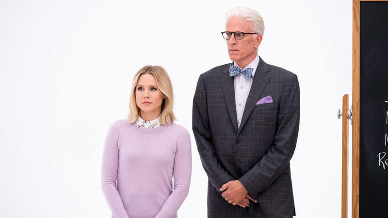 Eleanor (Kristen Bell) and Michael (Ted Danson) make a plea for humanity.