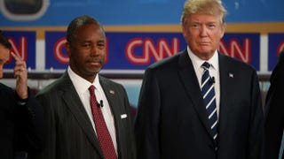 Republican presidential candidates Ben Carson and Donald Trump take part in the presidential debates at the Ronald Reagan Presidential Library in Simi Valley, Calif., on Sept. 16, 2015.Justin Sullivan/Getty Images