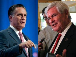 Mitt Romney and Newt Gingrich  (David Calvert/Getty Images News;Justin Sullivan/Getty Images News