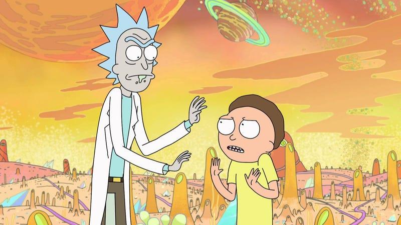 Rick and Morty, debating collectibles, probably.