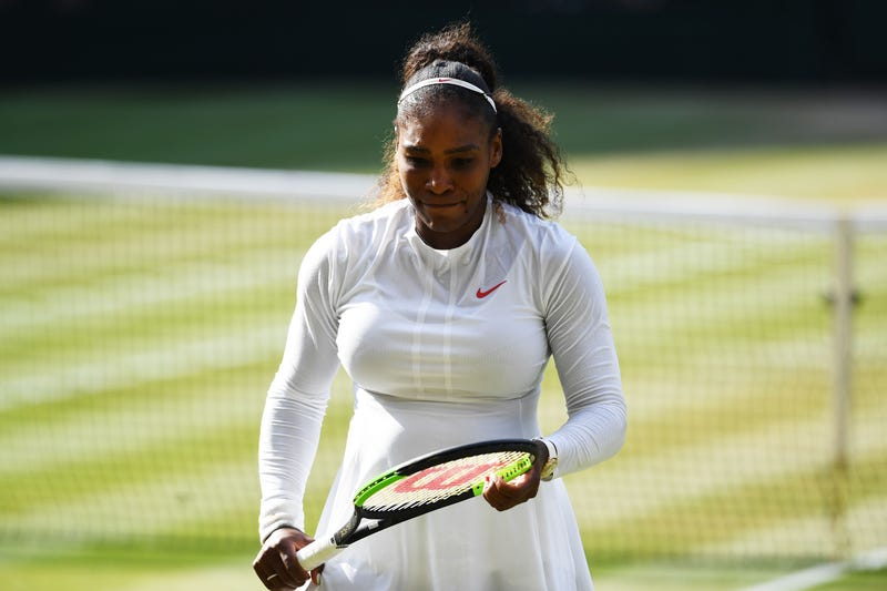 Serena Williams of the United States appears dejected during the Ladies' Singles final against Angelique Kerber of Germany on day twelve of the Wimbledon Lawn Tennis Championships at All England Lawn Tennis and Croquet Club on July 14, 2018, in London, England.
