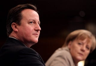 David Cameron and Angela Merkel (Miguel Villagran/Getty Images)