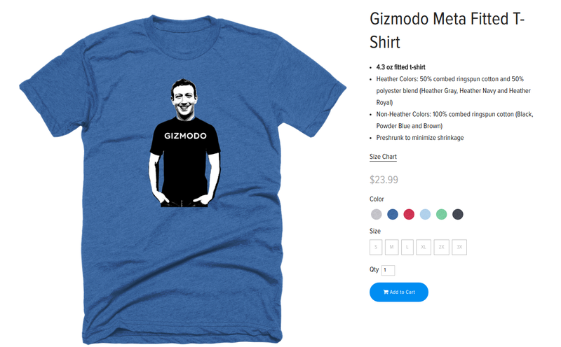 Illustration for article titled Grab Gizmodo's Sexy New T-Shirt Before Facebook Shuts Us Down