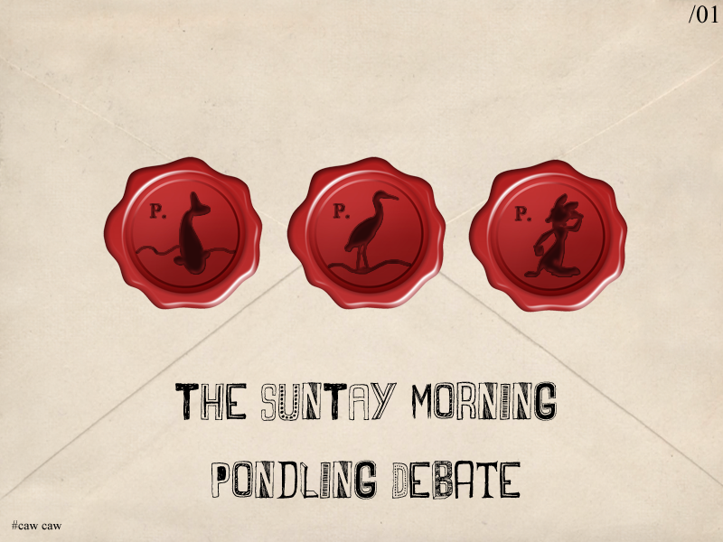 Illustration for article titled The SunTAY© Morning Pondling Debate - Issue 01
