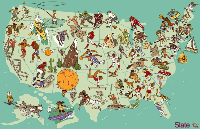 Illustration for article titled Awesome Map: The United States Of America, By Regional Sport