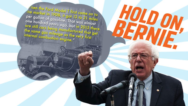 Illustration for article titled It Looks Like Bernie Sanders Doesn't Know Shit About Cars