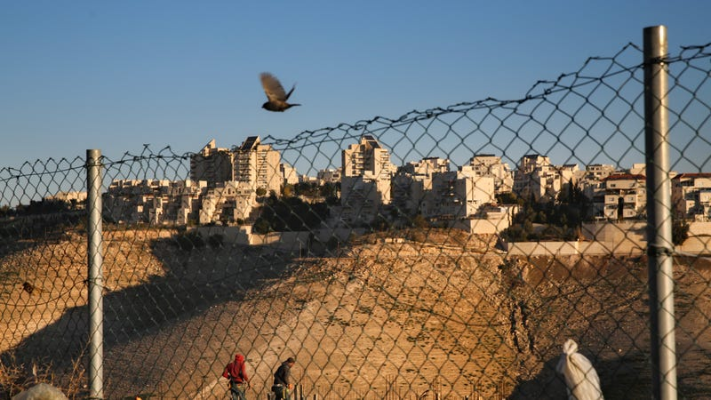 An israeli settlement in the West Bank, Maale Adumim, under construction in early 2017.