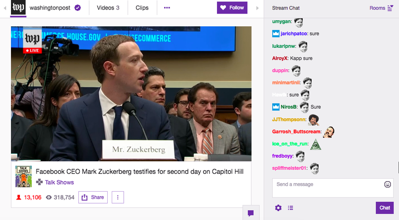 Illustration for article titled Twitch's Roasting of Mark Zuckerberg Is The Most 2018 Thing