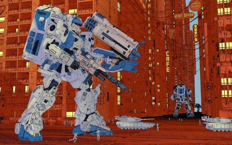 A Moebius-style Gundam by artist Ben Nicholas