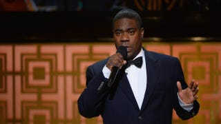 Tracy Morgan speaks onstage May 6, 2014, during Spike TV's Don Rickles: One Night Only in New York, about a month before his vehicular accident involving Wal-Mart. Theo Wargo/Getty Images for Spike TV