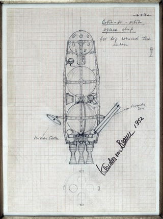 Illustration for article titled 1950s Rocket Sketches Envision Manned Spaceflight