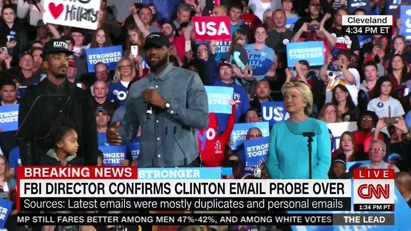 Illustration for article titled LeBron James, J.R. Smith Encourage Ohio Crowd To Get Out The Vote At Hillary Clinton Rally