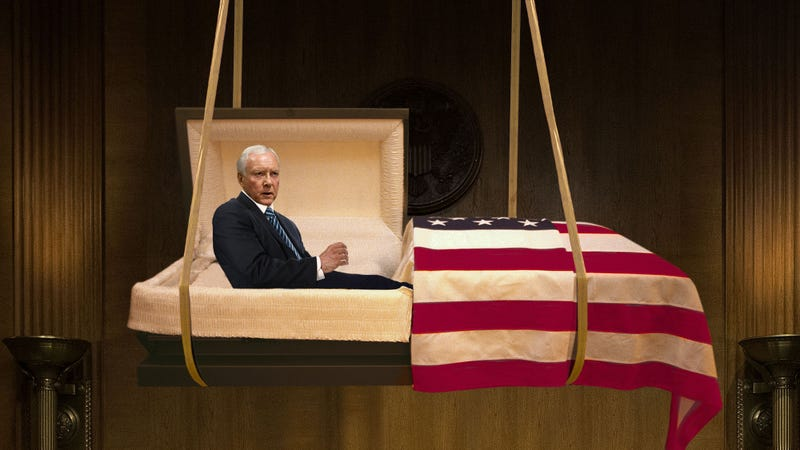 Illustration for article titled Orrin Hatch Delivers Farewell Address From Coffin Descending Into Plot Dug In Middle Of Senate Floor
