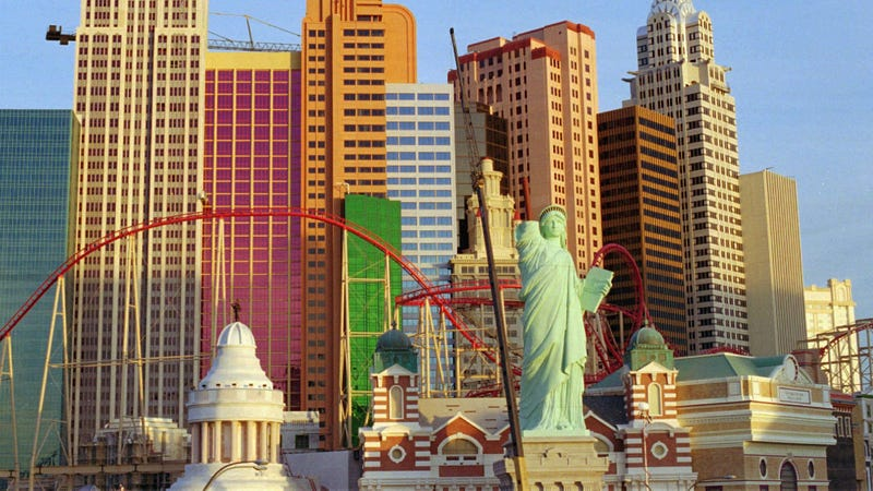 Artist Robert S. Davidson's half-size replica of the Statue of Liberty at the New York-New York Hotel & Casino in Las Vegas.
