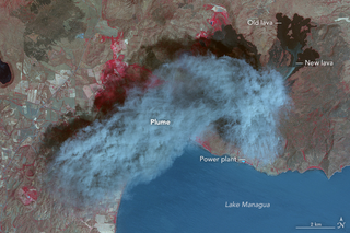 Illustration for article titled Nicaragua's Momotombo Volcano Is Glorious In False Color Satellite Imagery