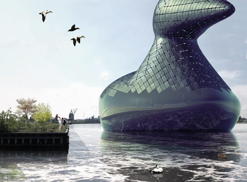 Illustration for article titled A Giant Floating Duck That Generates Solar Power—Because, Why Not?