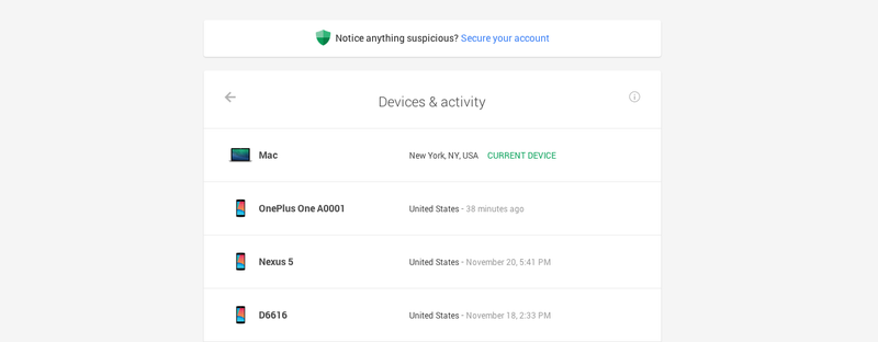 Illustration for article titled Google's New Dashboard Shows You All the Devices Using Your Account