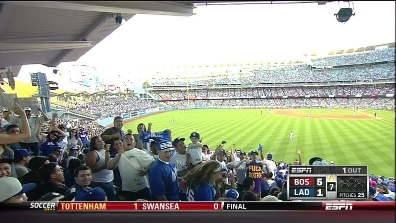 """Illustration for article titled ESPN Camera Catches Dodgers Fan With """"Fuck Boston"""" T-Shirt"""
