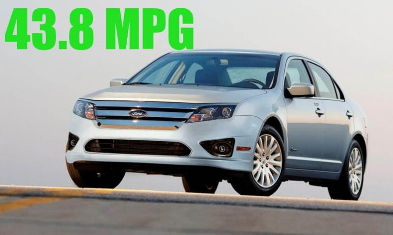 Illustration for article titled Ford Fusion Hybrid Gets Fuel Economy Rating Of 43.8 MPG In Jalopnik Road Test