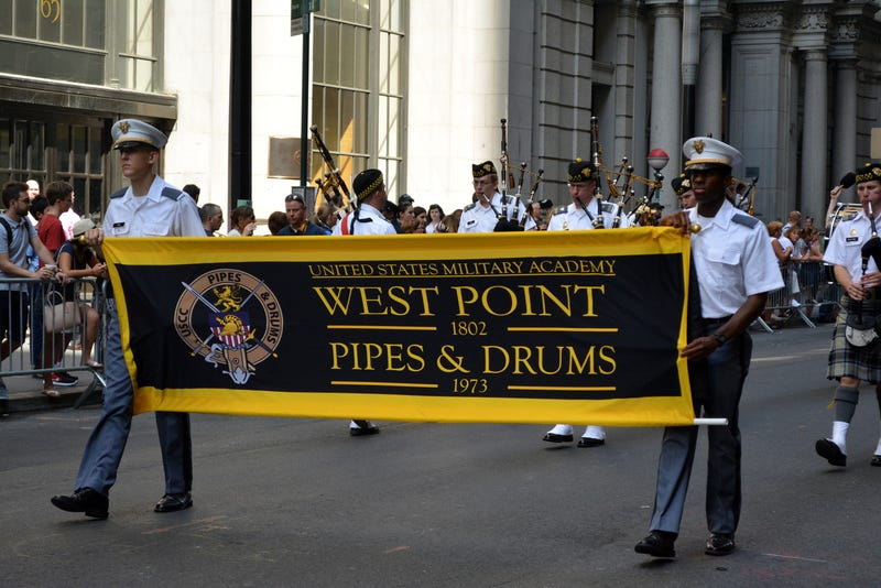 West Point cadet marching band on Broadway in a procession honoring police officers killed in the 9/11 attacks at the World Trade Center in Lower Manhattan in New York City in 2016.