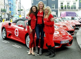 Illustration for article titled Cash & Rocket: 70 Rich (And Probably Bored) Ladies Dress In Red And Tour Europe On Red Cars And Supercars, To Raise Funds For Charity.