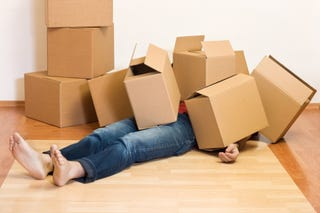 Stock photos are funny. Why would you end up under a pile of empty boxes?